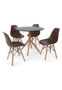 Conjunto Mesa De Jantar Maitê 80Cm Preta Com 4 Cadeiras Charles Eames - Marrom