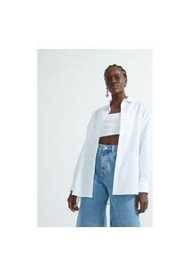 Camisa Ampla Em Tricoline Com Amarração Nas Laterais | Blue Steel | Branco | Gg