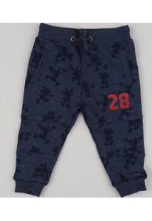 Calça De Moletom Infantil Mickey Com Bolsos Azul Escuro