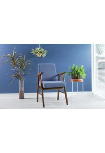 Poltrona Moderna De Madeira Estofada E Com Braços Azul Claro Valentim - Verniz Capuccino \ Tec.930 - 57X55X89 Cm