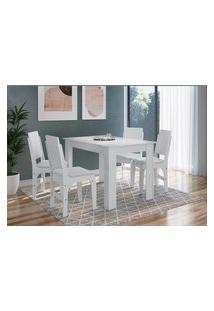 Conjunto Mesa Fixa Com 4 Cadeiras Mdf Branco Lilies Móveis