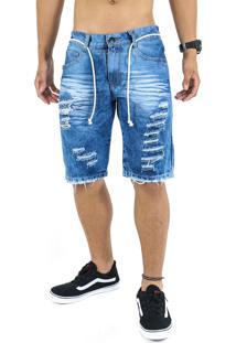 Bermuda Jeans Masculina Destroyed Rasgada Azul 307 - Kanui
