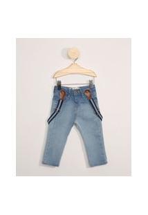 Calça Jeans Infantil Cargo Com Suspensório Azul Claro