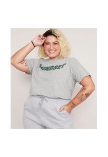 T-Shirt Plus Size Manga Curta Decote Redondo Mindset Cinza Mescla