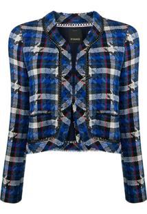 Pinko Jaqueta Cropped De Tweed - Azul