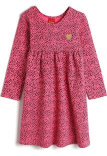Vestido Kyly Infantil Onça Rosa