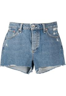 Rag & Bone Short Jeans Misha Com Detalhe Destroyed - Azul