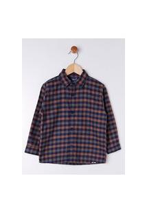 Camisa Xadrez Infantil Para Menino - Cinza/Laranja