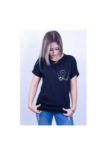 Camiseta Bilhan Corte A Fio Maos Dadas Pqn Preta