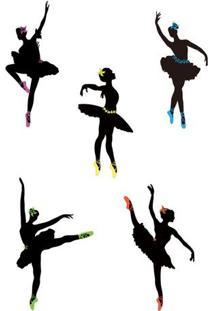 Adesivo De Parede Bailarinas- Preto & Amarelo- 70X50Evolux