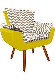 Poltrona Decorativa Opala Suede Composê Estampado Zig Zag Bege D81 E Suede Amarelo - D'Rossi
