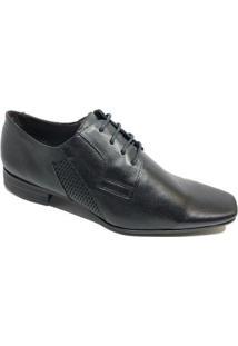 Sapato Social Calvest Couro Tradicional Cadarço Masculino - Preto - Masculino