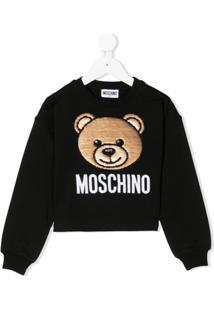 Moschino Kids Moletom Com Aplicação De Logo - Preto