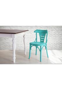 Cadeira Anatômica De Madeira Torneada Azul Augustine - 45X50,5X83 Cm