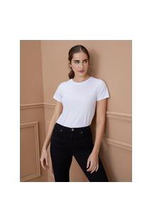 Amaro Feminino T-Shirt Costas Bordadas Let It Bloom, Branco