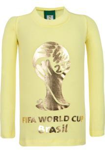 Camiseta Licenciados Copa Do Mundo Fifa Ouro Infantil Amarela