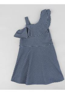 Vestido Infantil Evasê Um Ombro Só Listrado Com Babado Azul Marinho