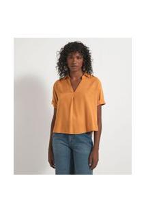 Camisa Manga Curta Com Abotoamento Nas Costas | Marfinno | Amarelo | Pp