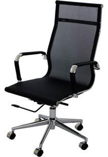 Cadeira Eames Telinha Alta Preta Cromada - 15202 - Sun House