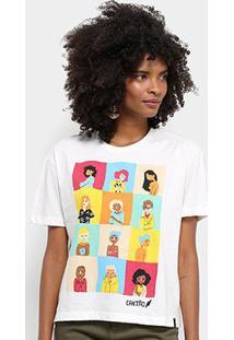 Camiseta Cantão Mulheres Feminina - Feminino-Off White