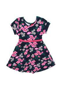 Vestido Infantil - Algodão E Poliéster - Flores - Azul Marinho - Kyly