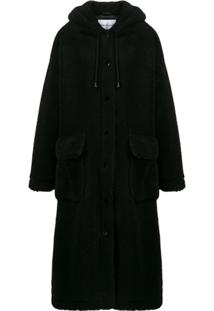 Stand Studio Hooded Shearling Coat - Preto