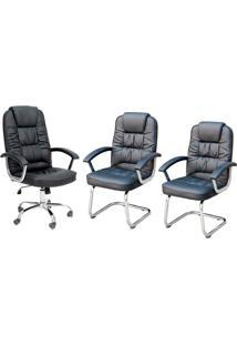 Conjunto Com 3 Cadeiras De Escritório Finland Preto