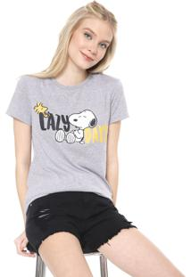 Camiseta Snoopy Lazy Days Cinza