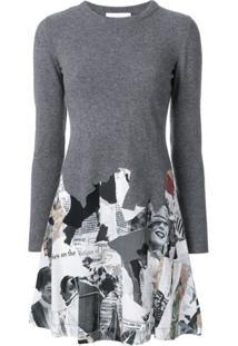Moschino Vestido De Lã Com Recortes - Grey