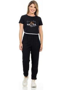 Camiseta Cropped Clara Arruda Viés Estampada 18020023 Feminina - Feminino-Preto