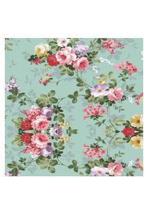 Papel Parede Floral Rosas Com Fundo Turquesa 1,50 X 60