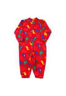 Macacão Infantil Pijama Ano Zero Microsoft Estampado Pp - Vermelho