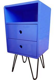 Criado Mudo Open Azul Bic Com 2 Gavetas Base Ferro Preto - 51708 Sun House