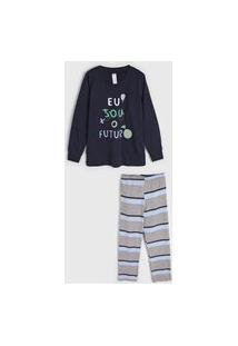 Pijama Malwee Liberta Longo Infantil Lettering Azul-Marinho/Cinza