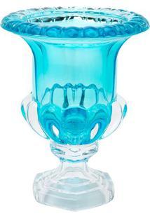 Vaso Com Detalhes Em Relevo & Pé- Cristal & Azul- 25Rojemac