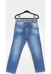 Calça Jeans Infantil Gangster Clara Estonada Masculina - Masculino-Azul Claro