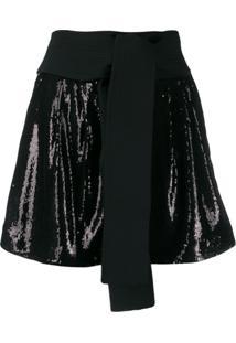 P.A.R.O.S.H. Obi Belt Sequin Shorts - Preto