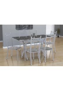 Conjunto De Mesa Miame 150 Cm Com 6 Cadeiras Lisboa Branco E Vegetale