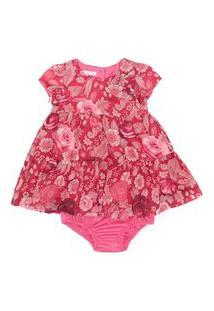 Vestido / Calcinha Infantil / Baby Em Voial De Poliester Estampado - Um Mais Um Vermelho