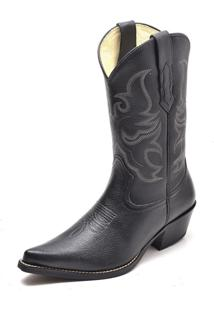 Bota Texana Country Couro Cano Médio Gaspariano Calçados Preta