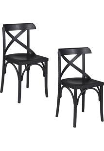 Kit 2 Cadeiras Decorativas Gran Belo Crift Preto
