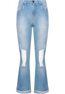 Calça Jeans Flare Cropped Puídos