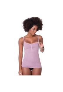 Camiseta Click Chique Compressão Amamentação Conforto Roxo