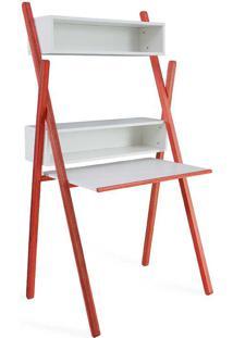 Mesa De Estudo Escrivaninha Com Estante E Nichos Branca E Vermelha Sue Woodinn - 87X62X158 Cm