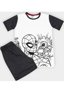 Pijama Infantil Evanilda Spider Man Malha Curto Tal Filho Masculino - Masculino