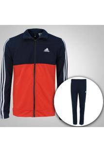Agasalho Adidas Back2Bas 3S - Masculino - Azul Esc/Laranja