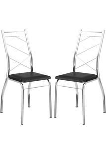Cadeira 1710 Cromada 02 Unidades Preta Carraro