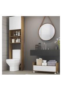 Armário Banheiro Para Vaso Sanitário Com 2 Portas E Balcáo Com Rodízios Multimóveis Branco/Rustic