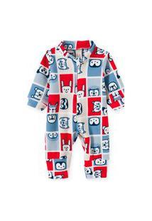 Macacão Pijama Bebê E Infantil Soft Pingo Lelê Xadrez Bichos
