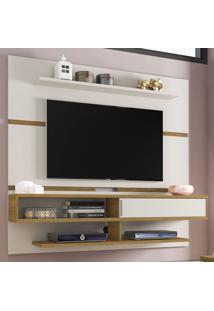 Painel Para Tv Até 60 Polegadas 1 Porta Búzios Flex Off White/Cinamomo - Bechara Móveis